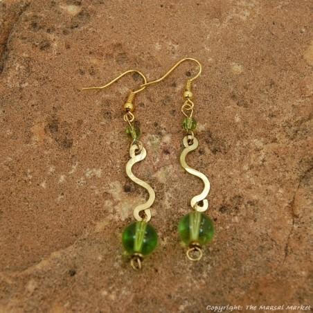 Brass Swirl Color Bead Earrings 695-2-81