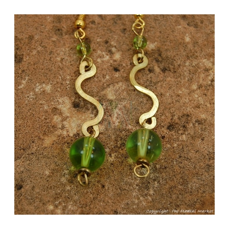 Brass Swirl Color Bead Earrings 695-2-81
