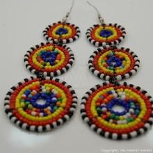 Maasai Multi-Colored Bead Stacked Dangle Earrings 700-7-15