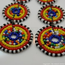 Maasai Multi-Colored Bead Stacked Dangle Earrings 700-7-15