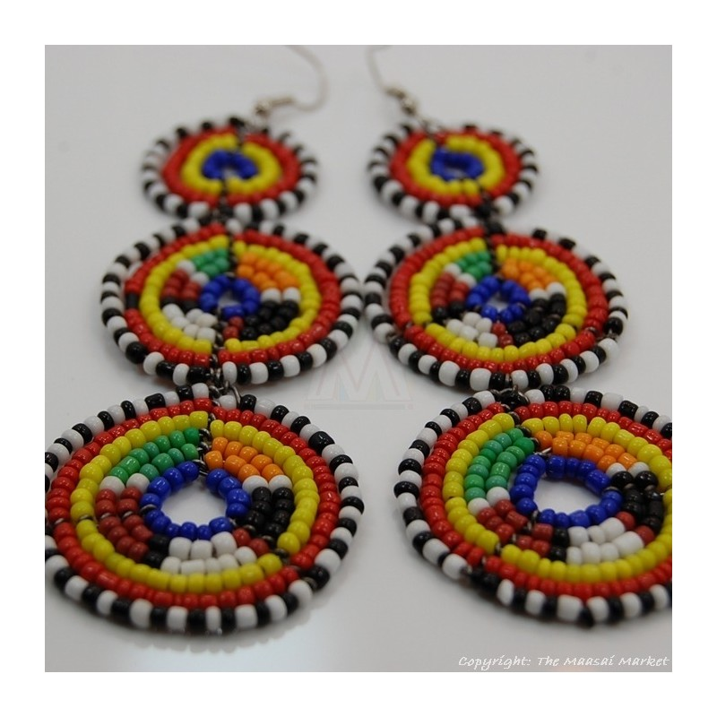 Maasai Multi-Colored Bead Stacked Dangle Earrings 700-8-15