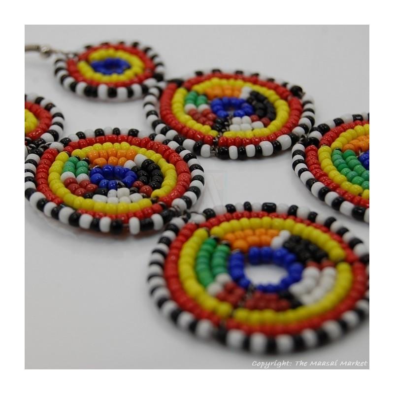 Maasai Multi-Colored Bead Stacked Dangle Earrings 700-8-15