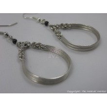 Silver Wire Maasai Bead Loop Earrings