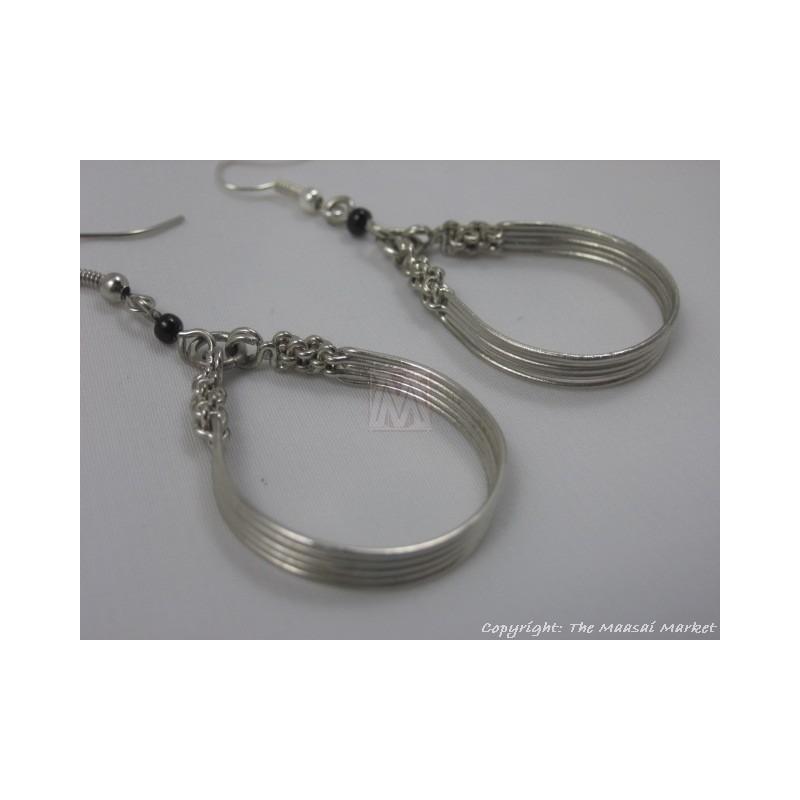 Silver Wire Maasai Bead Loop Earrings