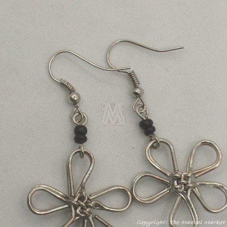 Silver Wire Maasai Bead Flower Earrings