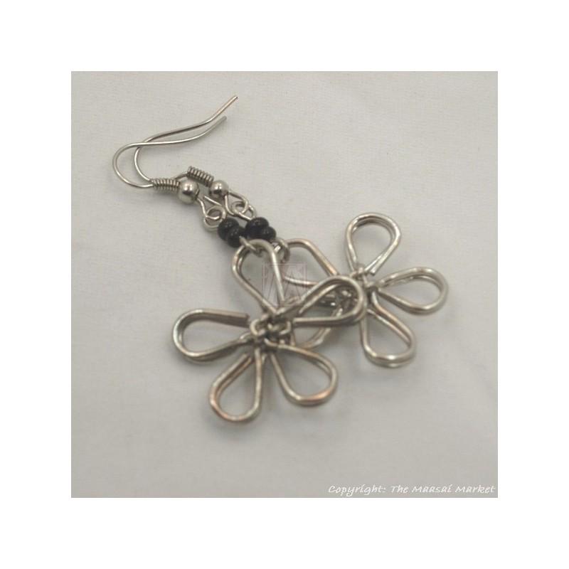 Silver Wire Maasai Bead Flower Earrings