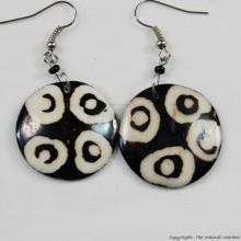 Round Mud Cloth Print Batik Earrings 500-2-44