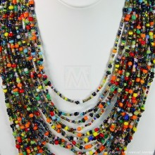 Multi Color Strand Maasai Bead Necklace 707-2-91