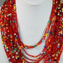 Multi Color Strand Maasai Bead Necklace 707-9-91