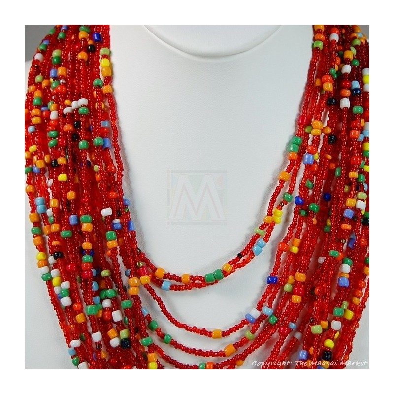 Multi Color Strand Maasai Bead Necklace 707-9-91