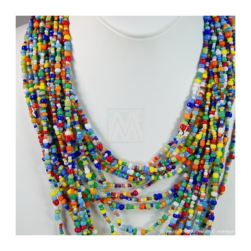 Multi Color Strand Maasai Bead Necklace 474-43