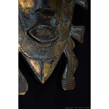 "Bronze Senufo Tribal Mask Calao Bird 12"""