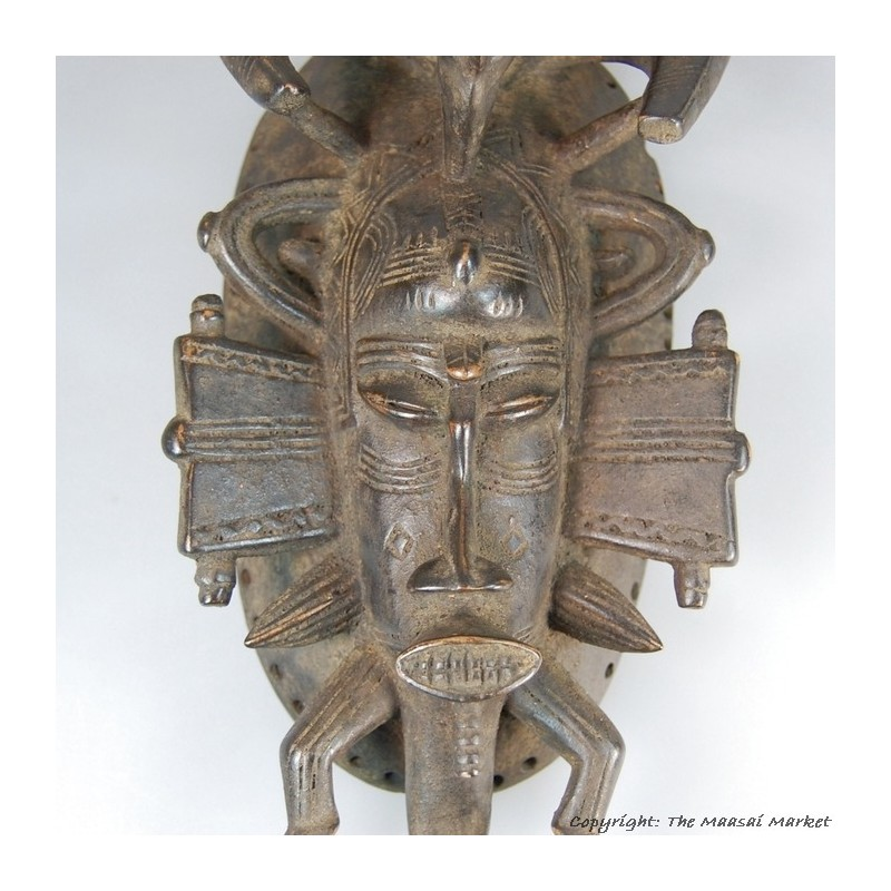 Wooden Senufo Kpelie Mask with Figure and Bird 14""