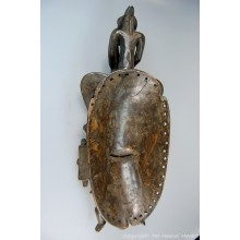"""Wooden Senufo Kpelie Mask with Figure and Bird 14"""""""