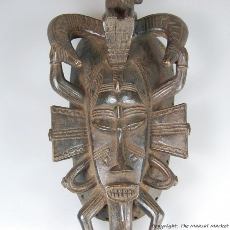 Wooden Senufo Kpelie Mask with Drummer 14""