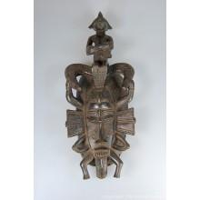 "Wooden Senufo Kpelie Mask with Drummer 14"""