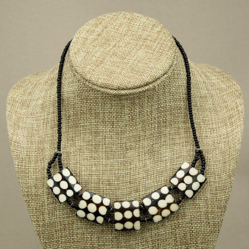 Cow bone Choker polka dot Necklace