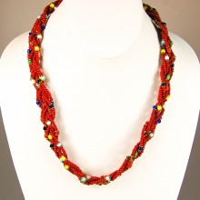 Red Maasai Krobo Tread Bead Braid Choker Necklace