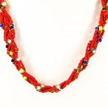 Red Maasai Krobo Tread Bead Braid Choker Necklace