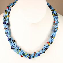 Blue Maasai Krobo Tread Bead Braid Choker Necklace