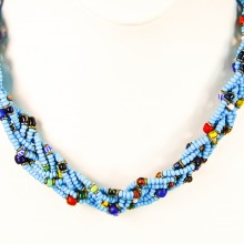 Blue Maasai Krobo Tread Bead Braid Choker Necklace