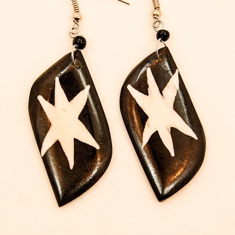 Batik Star Print Cow Bone Masai Earrings 713-87
