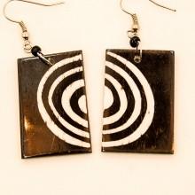 Batik Print Circles Cow Bone Maasai Earrings 712-87