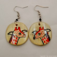 Giraffe Cow Horn Earrings 329-13