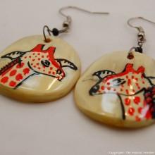 Giraffe Cow Horn Earrings 329-13