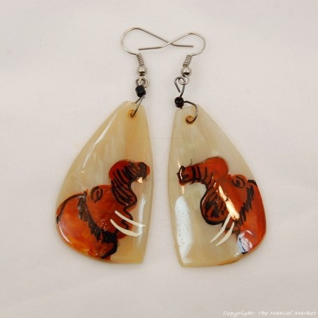 Elephant Cow Horn Earrings 326-13