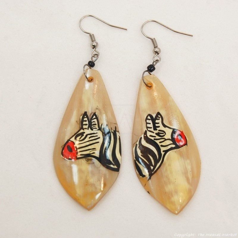 Zebra Cow Horn Earrings 324-13