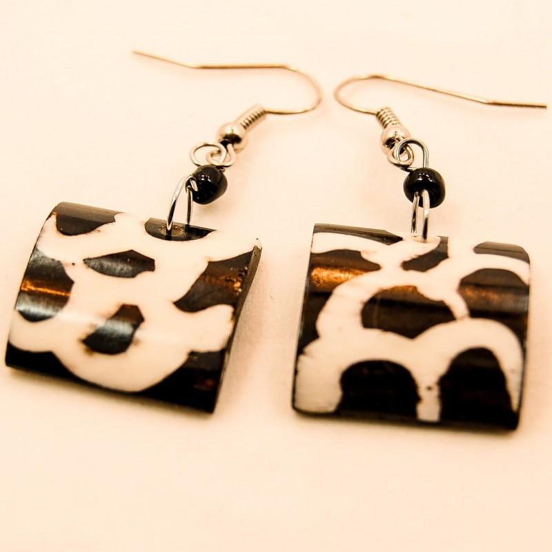 Giraffe Print Square Earrings 716-54