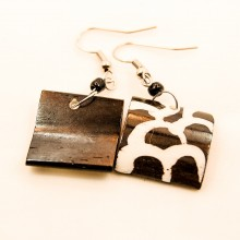 Giraffe Print Square Earrings 716-54