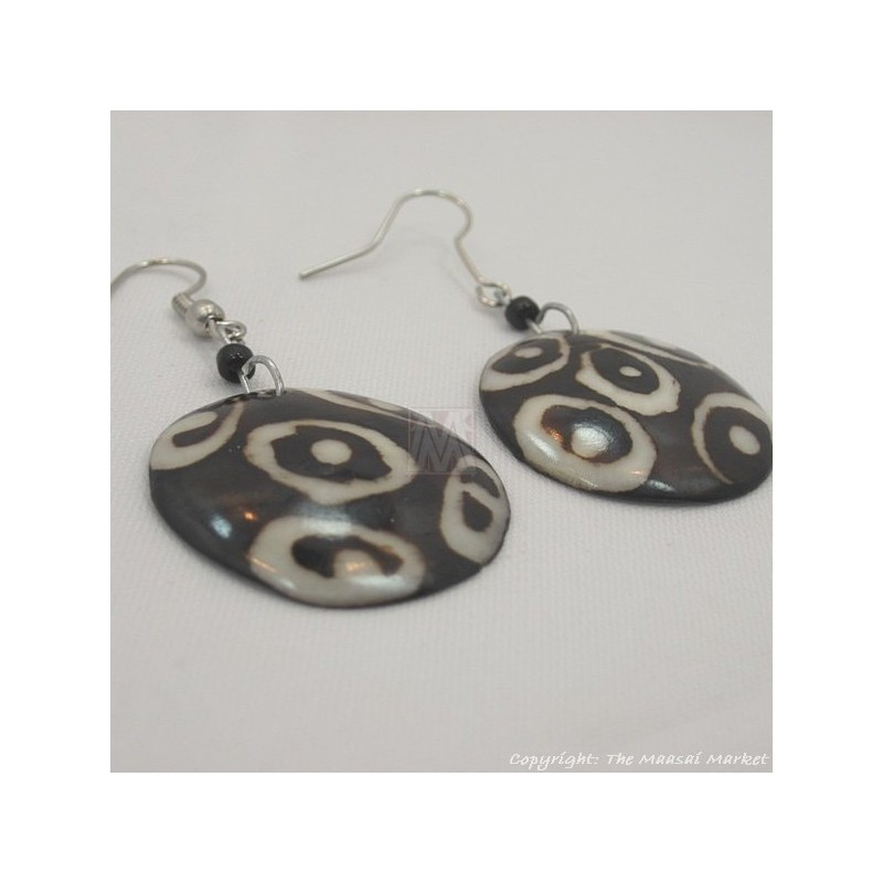 Round Mud Cloth Print Batik Earrings 500-44