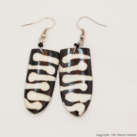 Cow Bone Maasai Shield Mud Cloth Print Earrings 719-100