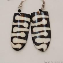 Cow Bone Maasai Shield Mud Cloth Print Earrings 719-100