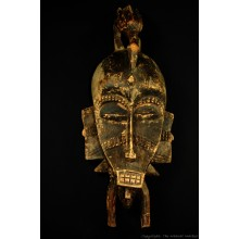 """Wooden Senufo Kpelie Mask with Bird 20"""""""