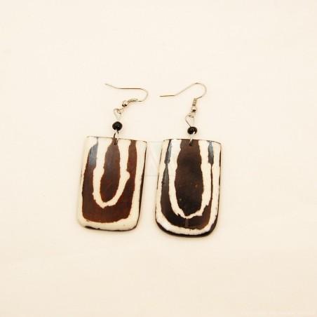 Mudcloth Print Bone Dangle Earrings 720-100