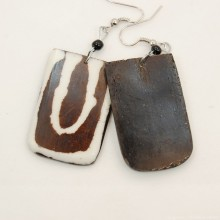 Mudcloth Print Bone Dangle Earrings 720-100