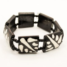 Mud Cloth Print Leaves Bone Bracelet