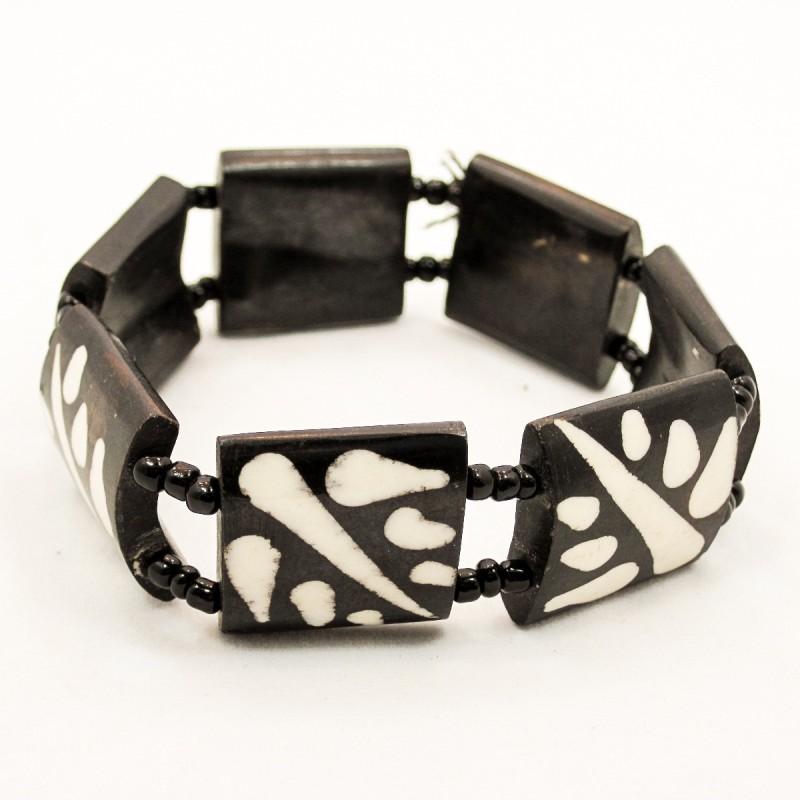 Mud Cloth Print Leaves Bone Bracelet