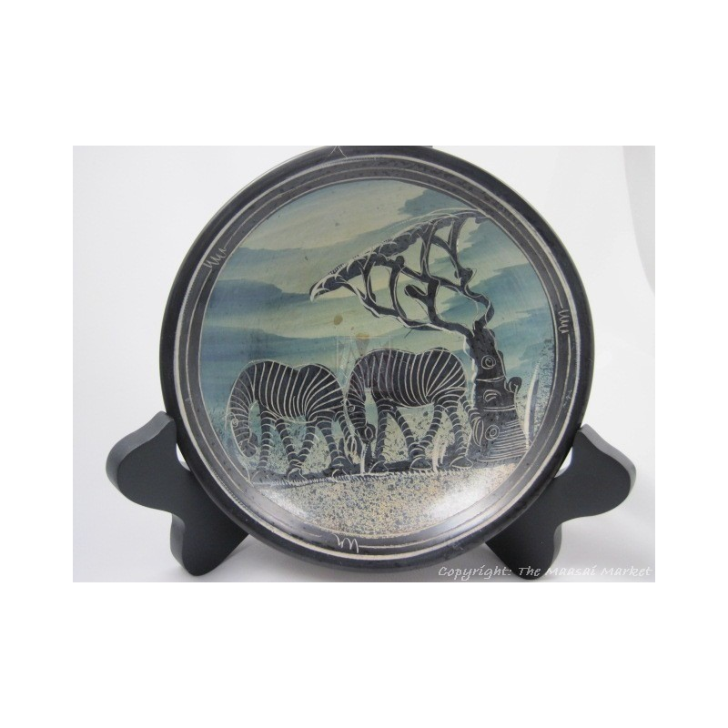"Kisii Soapstone Zebra Plate/ Bowl 6"" SBZ-14"