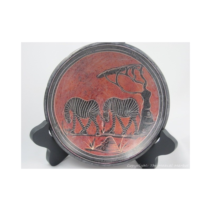 "Kisii Soapstone Zebra Plate/ Bowl 6"" SBZ-06"