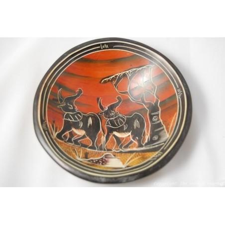 """Kisii Soapstone Elephant Plate/ Bowl 6"""" SBE-11"""