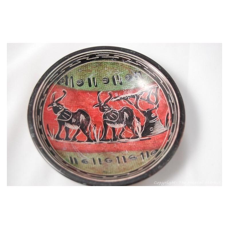 """Kisii Soapstone Elephant Plate/ Bowl 6"""" SBE-16"""