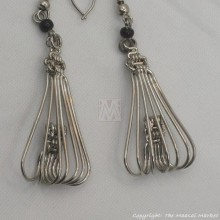 Silver Wire Maasai Bead Flower Petal Earrings