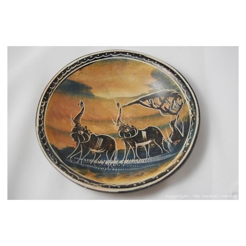 """Kisii Soapstone Elephant Plate/ Bowl 6"""" SBE-21"""
