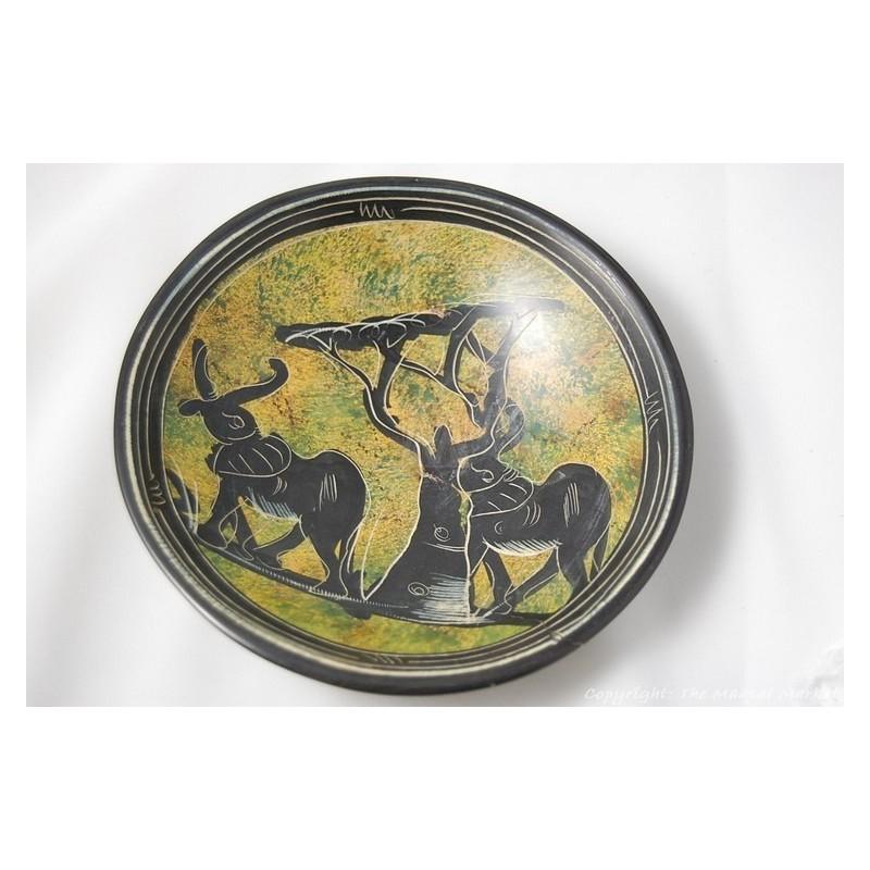 """Kisii Soapstone Elephant Plate/ Bowl 6"""" SBE-23"""