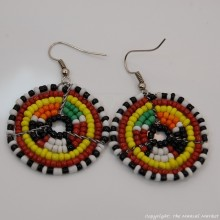 Small Masai Bead Multi Color Dangle Earring 689-94-5