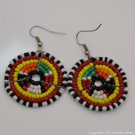 Small Masai Bead Multi Color Dangle Earring 689-94-5